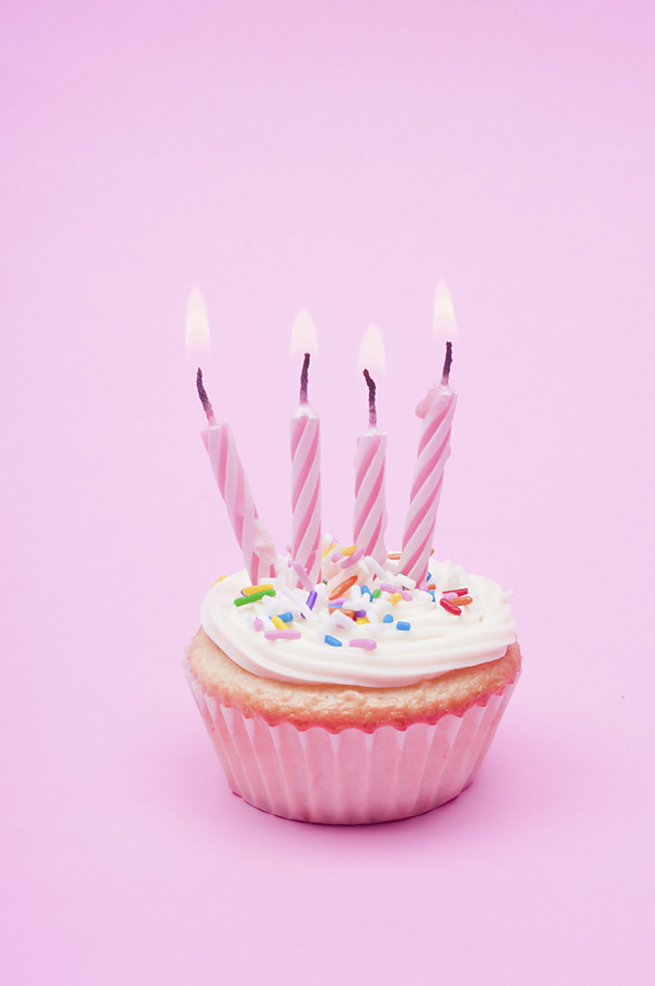 cupcake and four candles for the fourth blogiversary
