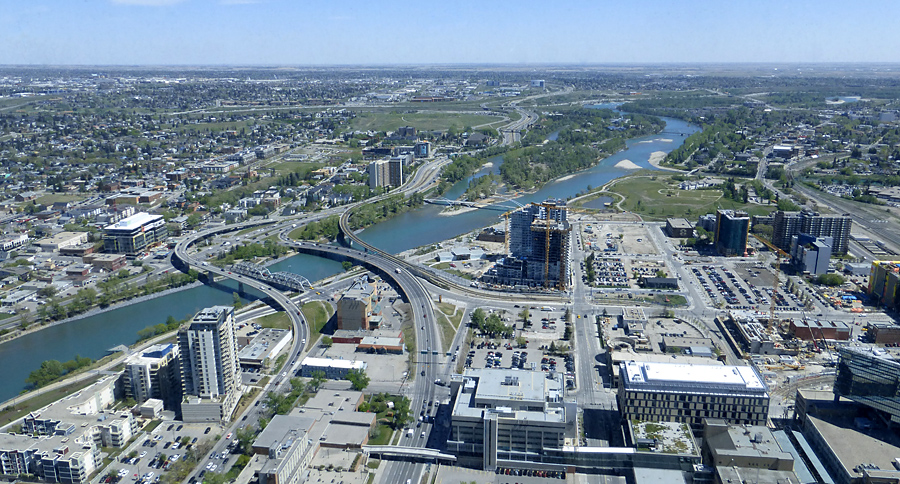 "The Bow River as seen from the 54th floor of ""The Bow"""