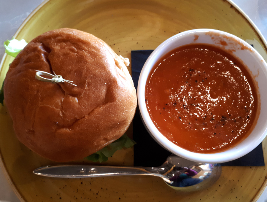 Beef Burger and Tomato Bisque